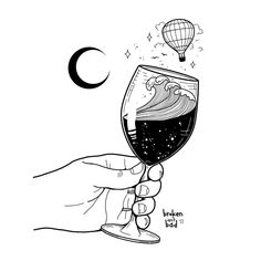 """Accept what life offers you and try to drink from every cup. All wines should be tasted; some should only be sipped, but with others, drink the whole bottle."" ~ Paulo Coelho ✨ A tattoo concept (brokenisntbad.com/tattoo-permission) - DM me! ✨ #brokenisntbad #illustrator #drawings #blackart #blackandwhiteonly #blackwork #tattooflash #tattooart #tattoodesign #wine #winetasting #magic #drinking #quotes #wisewords #saturdayfun #hotairballoon #artsy #dibujo #vino"