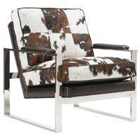 Moon Stone Chair * Brown & White Hide