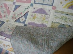 Quilt made from embroidered pillowcase ends
