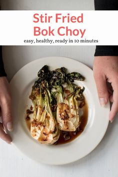 The most delicious 10 minute stir-fried bok choy with garlic, red onion, soy sauce, and a punch of spice from Asian chili paste. Easy, healthy, and so tasty. This healthy recipe from Slender Kitchen is MyWW SmartPoints compliant and is gluten free, low carb, paleo, vegan, vegetarian and Whole30. #sidedish #quickandeasy Healthy Side Dishes, Good Healthy Recipes, Best Side Dishes, Side Dish Recipes, Paleo Recipes, Cooking Recipes, Main Dishes, Vegetable Sides, Vegetable Recipes