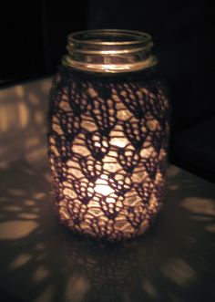 Mason Jar Wedding Centerpieces  Lace Knit  Flowers / by meganEsass