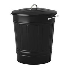IKEA - KNODD, Bin with lid, black, 40 l, , Easy to fill up and empty as you can secure the lid on the edge of the bin.Can be used anywhere in your home, even in damp areas like the bathroom and under covered balconies.