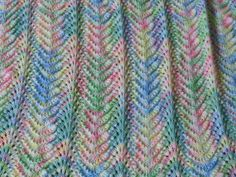 Hand Knit Baby Afghan Blanket Pastel Rainbow pink by Jlosdesign, $39.99