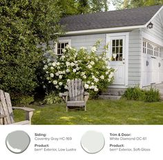 For a traditional exterior color scheme, try Coventry Gray siding with White Diamond on the trim and door. Exterior Gray Paint, White Exterior Houses, Exterior Paint Colors For House, Exterior Trim, Paint Colors For Home, Exterior Design, Cottage Exterior Colors, House Exterior Color Schemes, White Trim