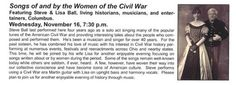 Our next Speakers Series program will feature Steve and Lisa Ball as we explore the music written by and about women of the Civil War era. Please join us at 7:30 pm on Nov. 16, 2016 at the Heritage Center, 45 W. 5th St, Chillicothe. It's free for the public.