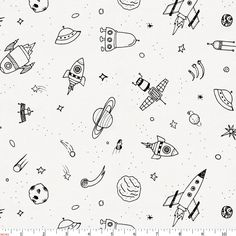 Onyx and White Rockets Fabric by Carousel Designs.