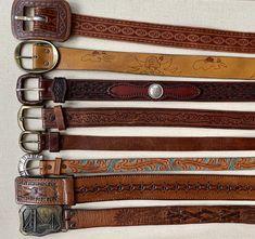Tooled Leather, Brown Leather Belt, Brown Belt, Leather Buckle, Leather Belts, Leather Tooling, Women's Belts, Vintage Leather, Vintage Men