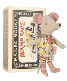 Maileg Little Sister Floral Mouse in Matchbox