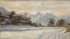 Reinaldo Giudici | Nevado- Como, Italia | 1913 | Óleo sobre tela | 39 x 69 cm