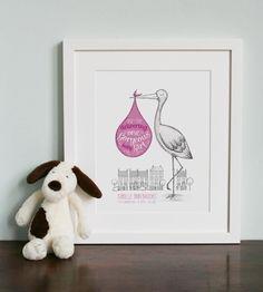 Gorgeous baby girl stork illustration, £55.00