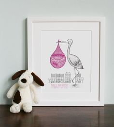 Gorgeous baby girl stork illustration, £55.00