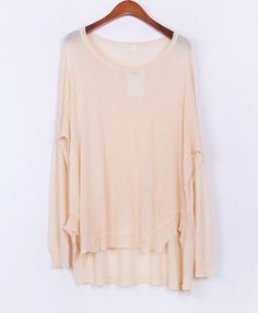 Candy Color High Low Hem Pullover with Batwing Sleeves