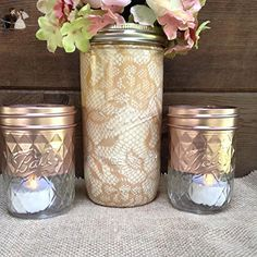 Set of 3 Burlap Tan Lace Pattern and Rose Gold Painted Mason Jars Centerpieces, Baby Shower, Rustic Wedding Supplies, Shabby Chic Decorations - Venue and reception decor (*Amazon Partner-Link)