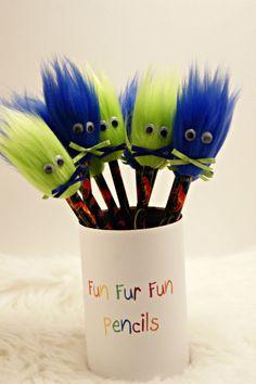 10 Dinosaur Party Favors Birthday Pencils Pencil Toppers Fun Fur Monster Fur Goody Bag Favors Furry Pencil Topper  Birthday Party Favors