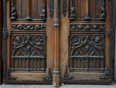 Beautiful Neo-Gothic style pair of double doors in walnut with rich carved decoration (Reference - Available at Galerie Marc Maison Gothic Interior, Antique Doors, Architectural Antiques, Gothic Architecture, French Decor, Double Doors, Coat Of Arms, Gothic Fashion, French Antiques