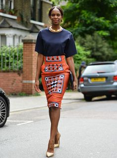 Topshop Top, Stella Jean Colomba Tribal-Print Pencil Skirt, Jil Sander Calf-Hair Clutch, Kurt Geiger Shoes, Topshop Earrings, Vintage Necklace Shot by David Nya