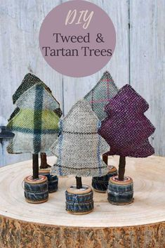 Add a Scottish twist to your fall and Christmas decorations with these DIY tweed and tartan trees a great seasonal upcycled craft. Christmas Tree Base, Fabric Christmas Trees, Tabletop Christmas Tree, Christmas Tree Cookies, Christmas Holidays, Christmas Ornaments, Christmas Ideas, Christmas Stuff, Diy Christmas Decorations For Home