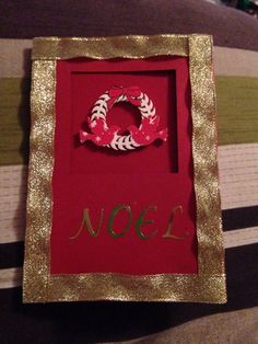 Red and Gold Noel Christmas Card by Jaceyscreations on Etsy