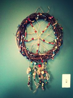 Dream catcher covered in Beads by BeadsandStems on Etsy, $35.00