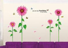ufengke® Bellissimi Girasoli Rosa e Farfalle Adesivi Murali, Camera da Letto Soggiorno Adesivi da Parete Removibili/Stickers Murali/Decorazione Murale: Amazon.it: Fai da te