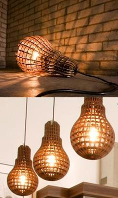 This clever, little lamp is shaped like a giant light bulb and houses a, erm, lightbulb. Made from laser cut wood which leaves a crisp burned edge and creates a satisfying, waffle like glow. $249.95