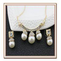 Мода Люкс Комплект Ювелирных Изделий Позолоченный 18 К золотое ожерелье серьги с…