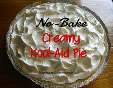 No-Bake Kool-Aid Pie – Haphazard Homemaker Easy No Bake Desserts, Easy Baking Recipes, No Bake Treats, Pie Recipes, Low Carb Recipes, Sweet Recipes, Dessert Recipes, Recipies, Kool Aid Pie Recipe