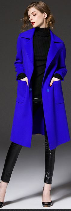 Royal Blue Belted Wool Coat