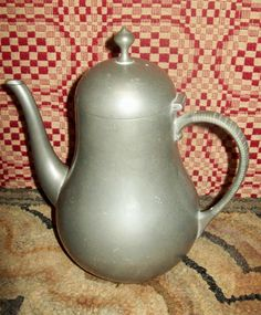Pewter Tea Pot Royal Holland Unusual Shape Vintage Antique