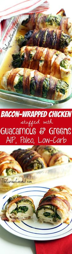 Bacon-Wrapped Chicken Breast Stuffed With Guacamole and Collard Greens - an epic low-carb, #AIP, Paleo meal! Serve with tostones for a starch option //