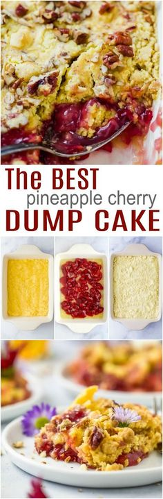 Cherry Pineapple Dump Cake an easy 5 ingredient classic with cherry pie filling, crushed pineapple and white cake mix. This cherry dump cake is sure to be your new favorite dessert! An easy holiday potluck dessert! Cake Mix Desserts, Potluck Desserts, Easy Desserts, Dessert Recipes, Homemade Desserts, Sweet Desserts, Breakfast Recipes, Dump Cake Recipes, Delicious Cake Recipes