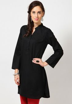 3/4Th Sleeve Solid Black Kurti 12€