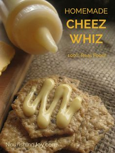 Homemade Cheez Whiz - with all real food ingredients! Homemade Velveeta and Homemade Cheez Whiz are your real food answers to the chemical-laden, Cheese Recipes, Real Food Recipes, Snack Recipes, Cooking Recipes, Yummy Food, Snacks, Velveeta Recipes, Dairy Recipes, Blender Recipes