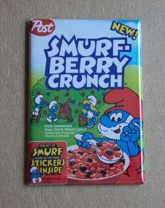 Smurf Berry Crunch FRIDGE MAGNET cereal box papa smurfette 80's les schtroumpfs | eBay