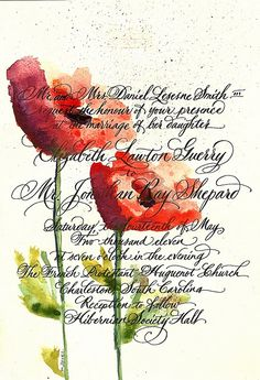watercolor illustration calligraphy for over invitation . . nice wedding gift idea