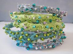 bracelet - fabric + beads [photo only] Fiber Art Jewelry, Textile Jewelry, Fabric Jewelry, Jewelry Art, Beaded Jewelry, Handmade Jewelry, Jewelry Design, Jewellery, Fabric Bracelets