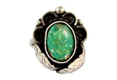 Vintage Navajo Sterling Silver & Natural Turquoise Ring
