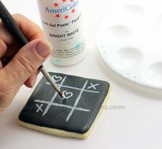 valentines cookies - chalkboard cookies