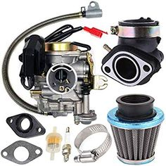 Carburetor for 4 Stroke Scooter Taotao Engine carb+ Intake Manifold Air Filter by TOPEMAI Moped Scooter, Scooter Parts, Chinese Scooters, Honda Ruckus, Performance Exhaust, 50cc, Go Kart, Air Filter, Exhausted