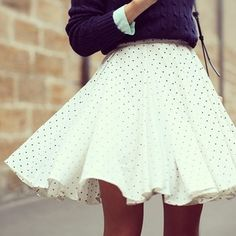Modern Vintage Fashion | Fall & Winter Fashion Flowy polka dot skirt and marine blue sweater. Want to wear this! sooo cute :)