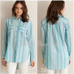 sale  Striped casual tops Aqua striped button down shirt features two front pockets and side slits. Sleeves can be worn long or 3/4....Medium (6/8) Large (10/12). Price is firm unless bundled. Tops Button Down Shirts