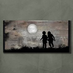 reclaimed wood wall art playing in the moonlight original painting, wood painting kids wall artMADE TO ORDER** Original Painting on Reclaimed BarnWood from South Dakota. This piece is long, tall & thick. The painting depictsReclaimed Wood art w out k Arte Pallet, Pallet Art, Pallet Ideas, Diy Pallet, Reclaimed Wood Wall Art, Barn Wood, Wood Wood, Art On Wood, Painted Wood