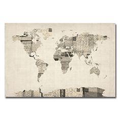 Vintage Postcard World Map Canvas Giclee Print