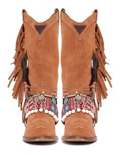 Botas flecos pluma Tribal de Layer Boots