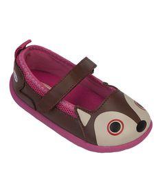 Love this Brown & Pink Fox Zoo Flex Mary Jane by Zooligans on #zulily! #zulilyfinds