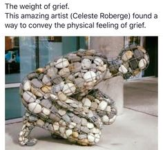 my most favorite sculpture.the weight of grief.this artist found a way to convey the physical feeling of grief. Art Pierre, Instalation Art, Sticks And Stones, Wow Art, Art Plastique, Pebble Art, Pebble Stone, Stone Art, Public Art