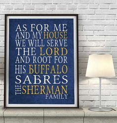 "Buffalo Sabres hockey inspired Personalized Customized Art Print- ""As for Me"" Parody- Unframed Print"