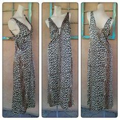 Vintage 1970s Leopard Print Nightie Vanity Fair Nightgown