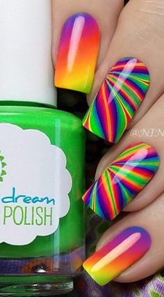 Rainbow Water Marble and Gradient Nails using all The Creme Neons From Pipe Dream Polish 'A Night In Vegas' Collection.