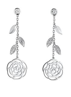Chanel Camelia diamond and white gold earrings